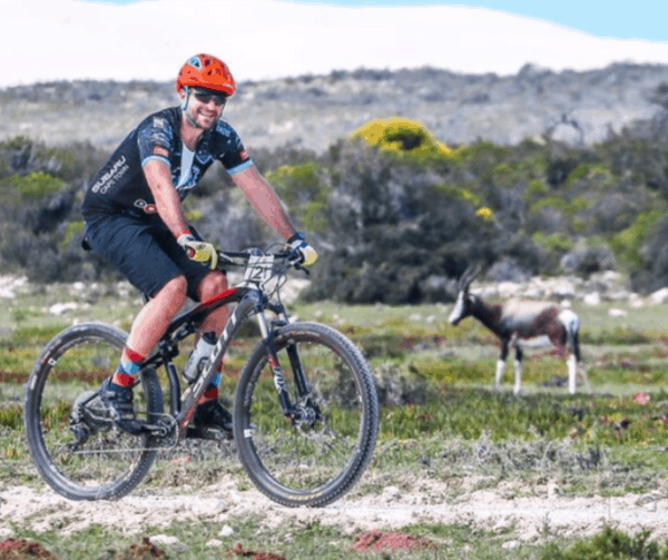 Cyclist and antelope- Whale Coast