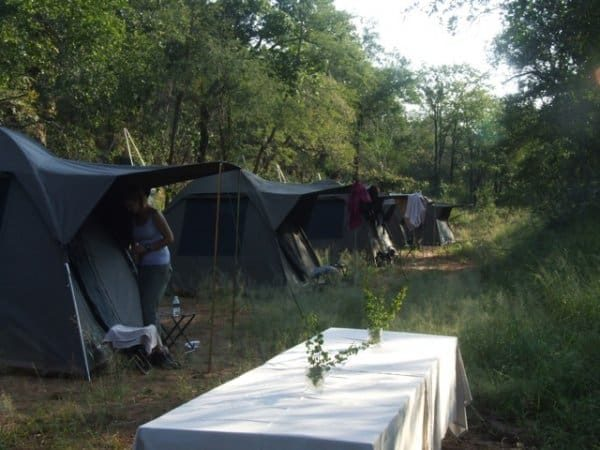 Camp and tents- Kruger Wilderness Trails